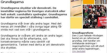 Man slog på stort för att uppmärksamma medborgarna om den 2 juni. På Riksdagens hemsida kan man leta på allmän information om Demokrati, klicka på Grundlagarna och då ser man nyheten i den lilla rutan till höger.